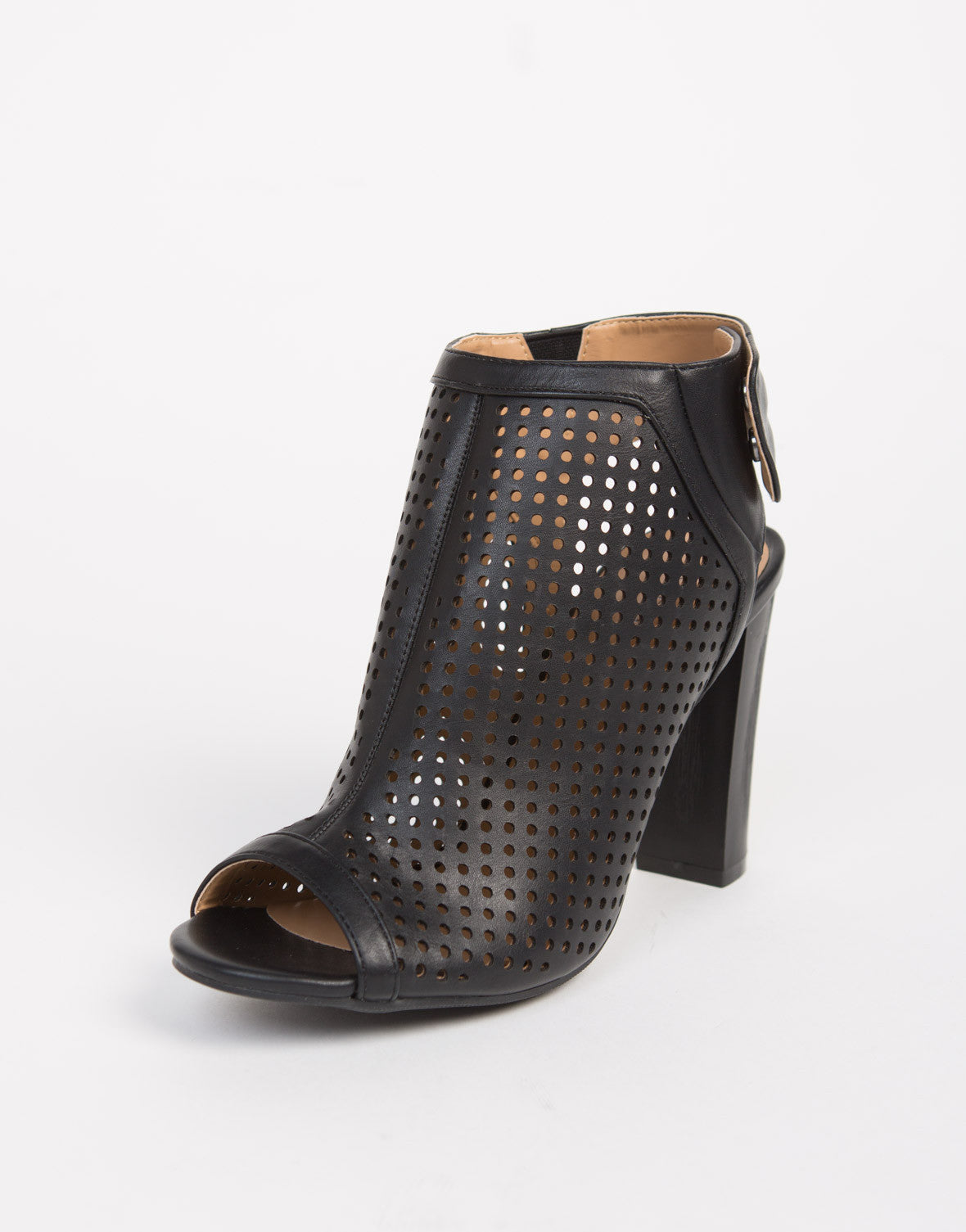 Perforated Peep Toe Mule Heels - 2020AVE