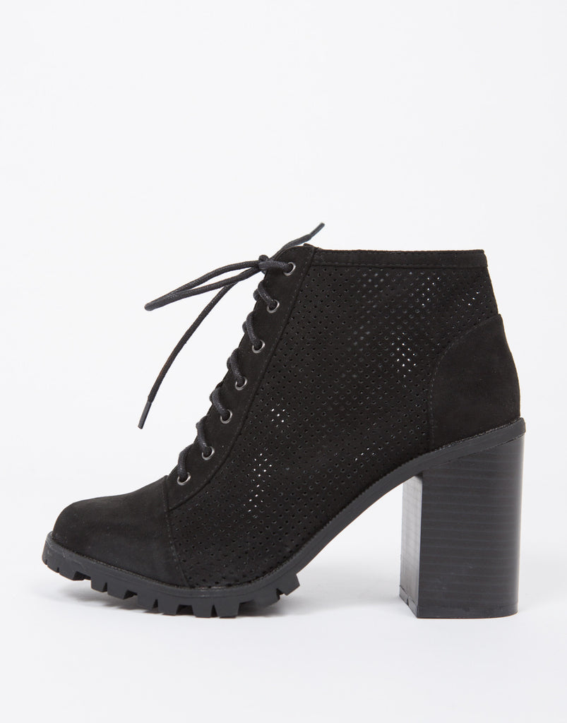 Perforated Lace Up Ankle Boots - 2020AVE