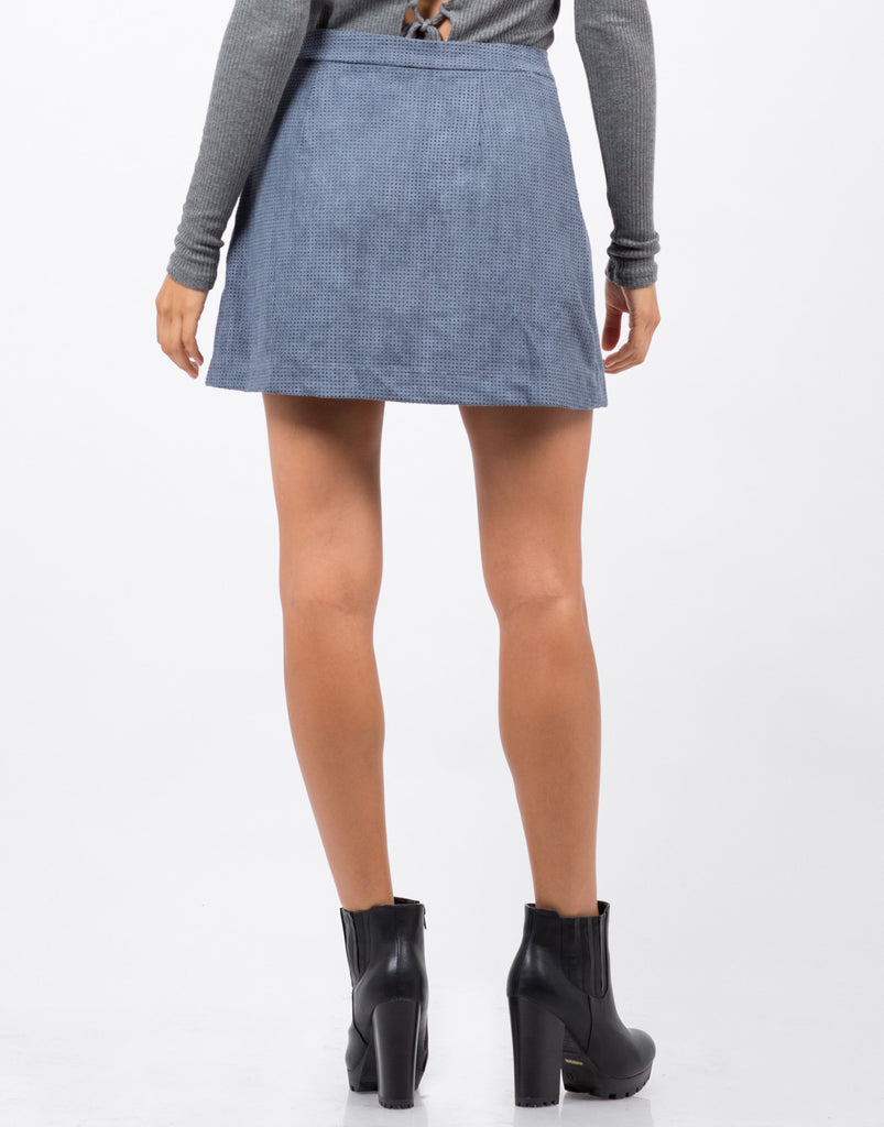 Perforated Suede Mini Skirt - 2020AVE