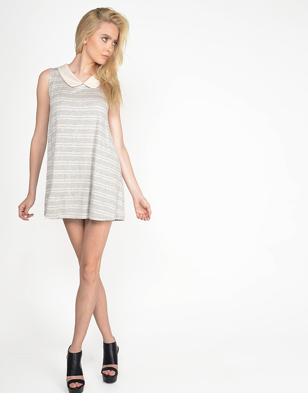 Peter Pan Collar Striped Dress - Small
