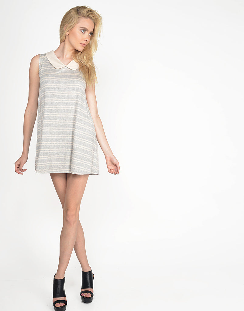 Peter Pan Collar Striped Dress - Small - 2020AVE