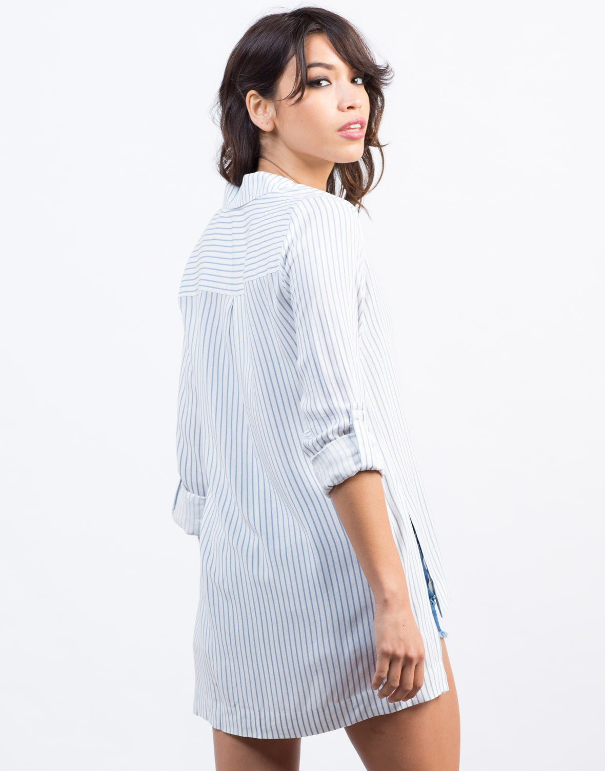 Back View of Pin Striped Boyfriend Shirt