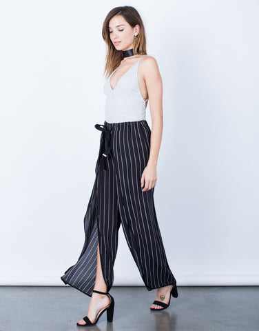 Side View of Pin Striped Palazzo Pants