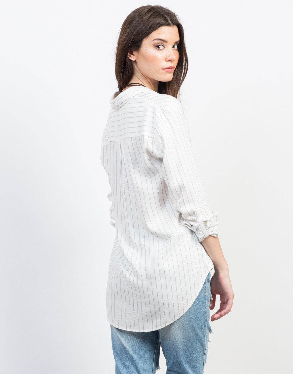Back View of Pin Striped Woven Blouse