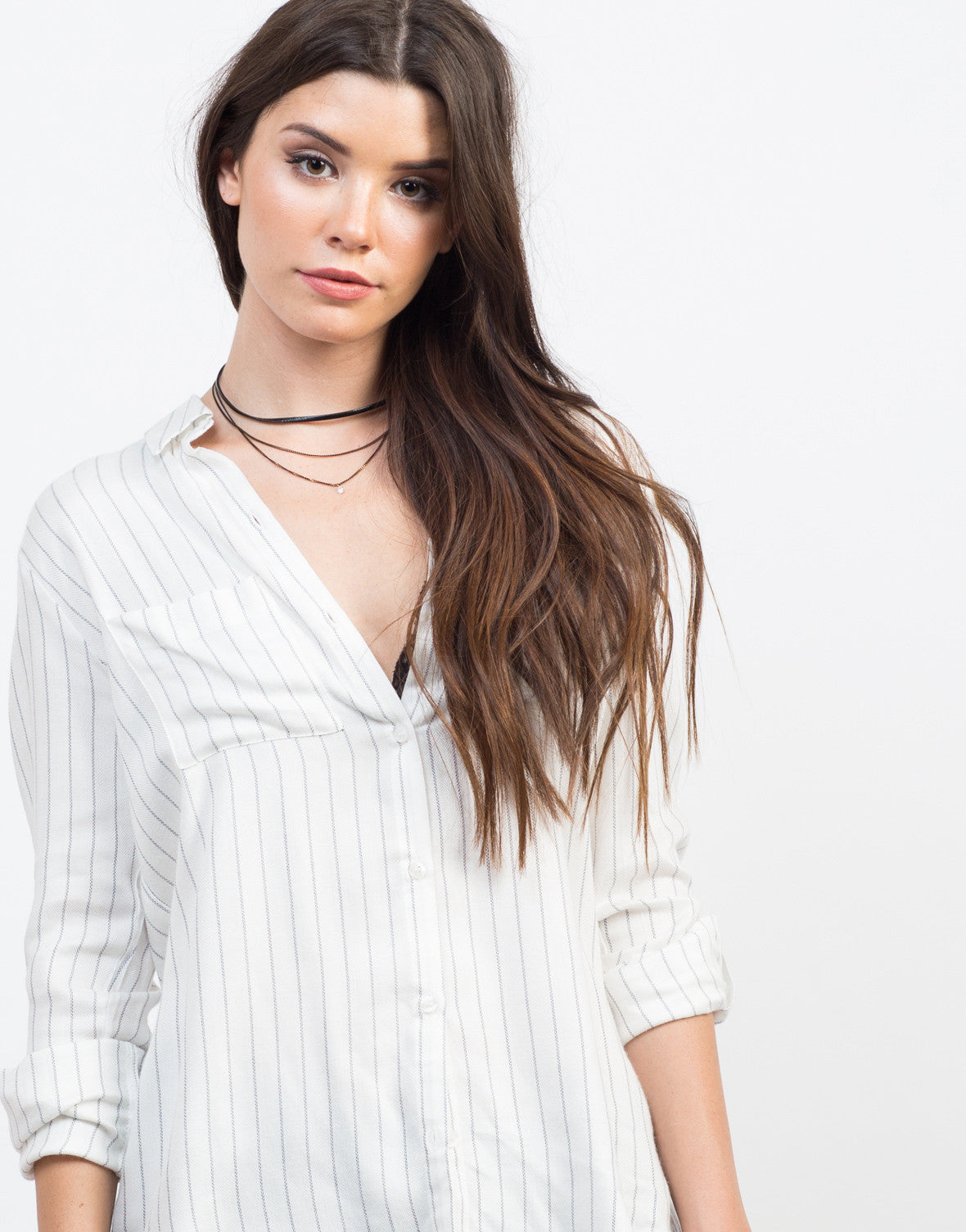 Detail of Pin Striped Woven Blouse