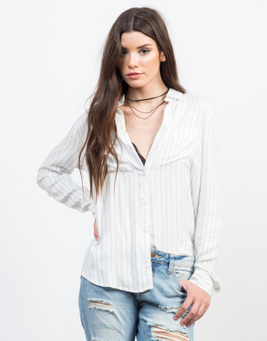 Front View of Pin Striped Woven Blouse