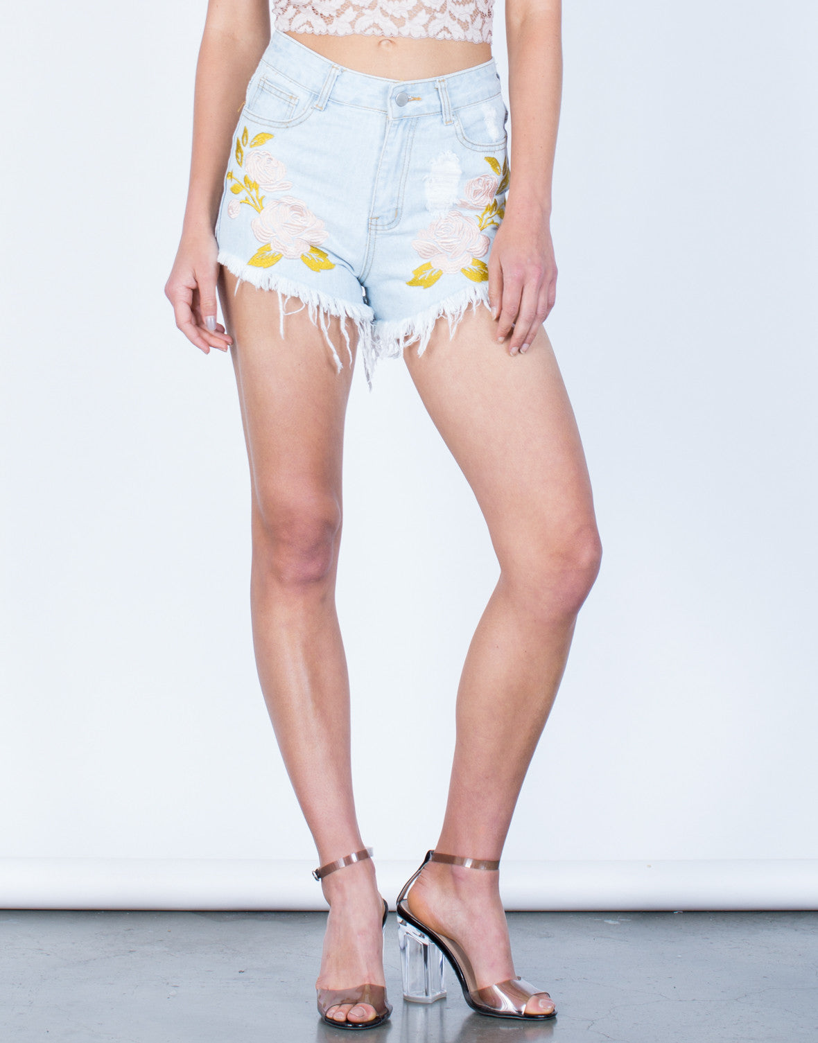 Front View of Pink Floral Denim Shorts