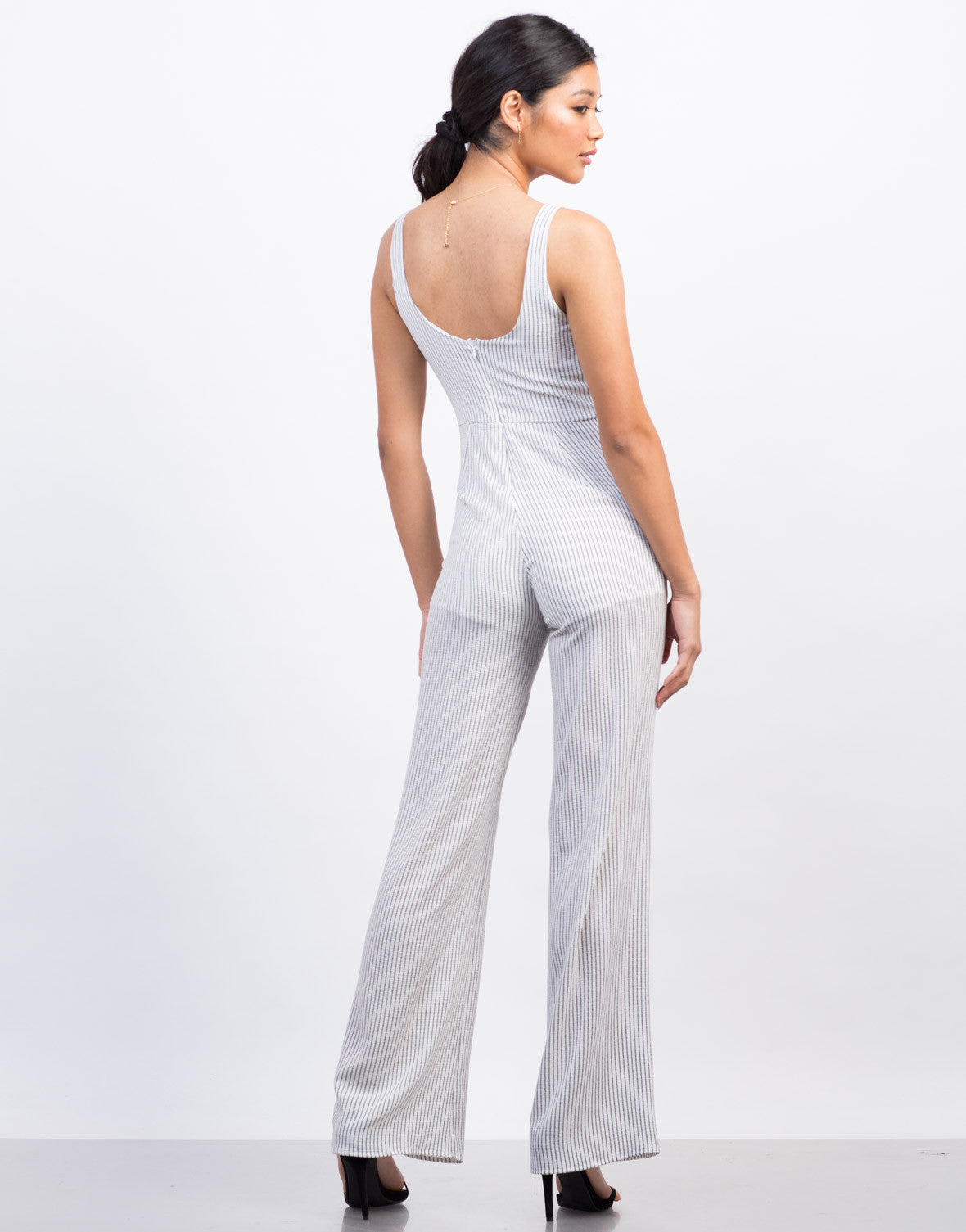 Back View of Pinstripe Flowy Jumpsuit