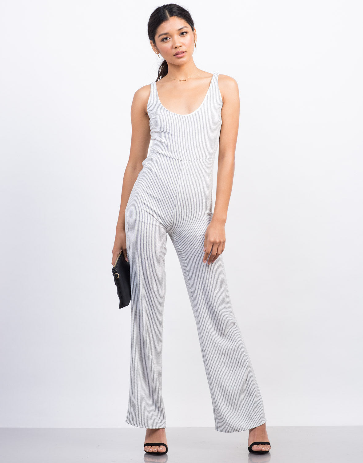 Front View of Pinstripe Flowy Jumpsuit