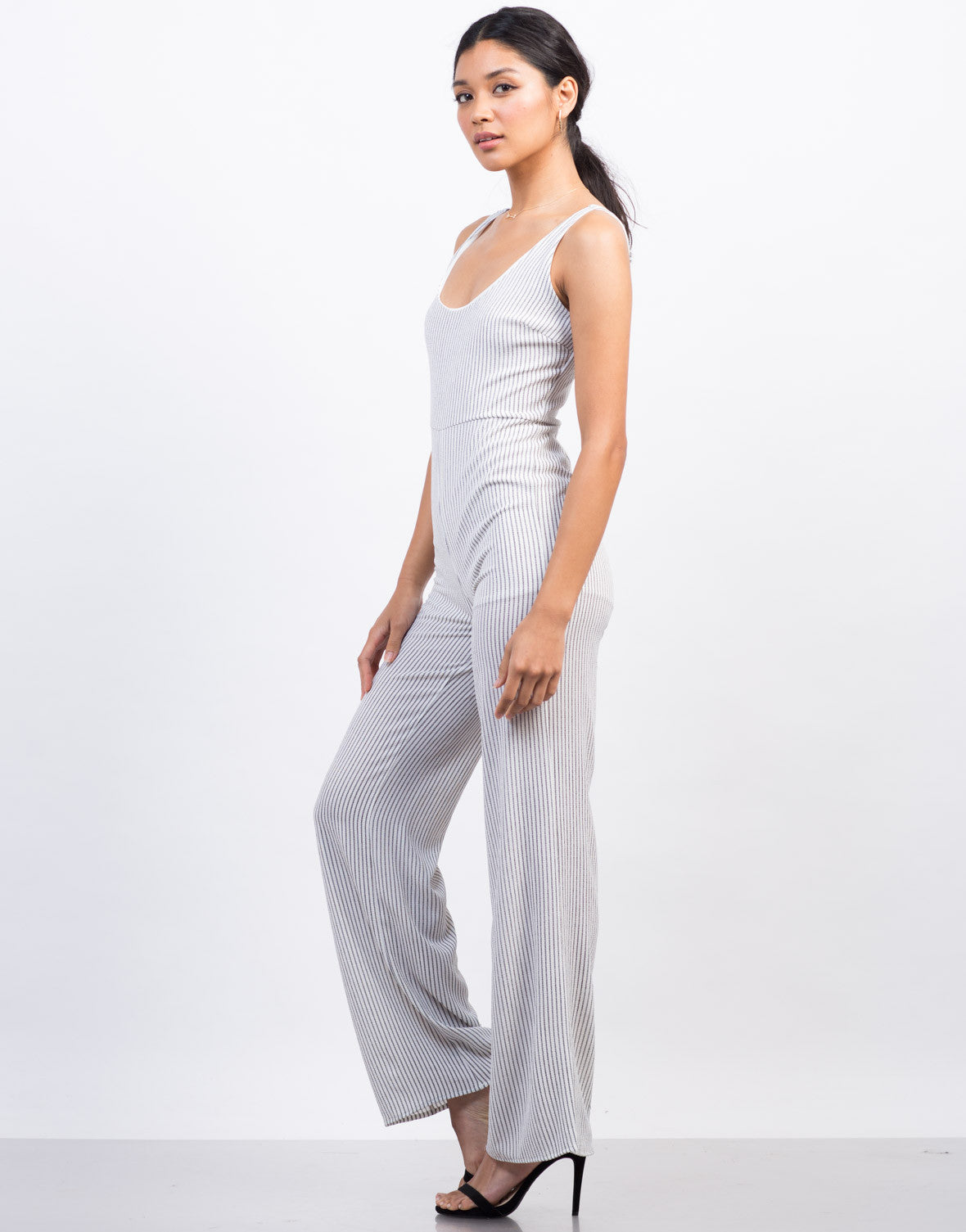 Side View of Pinstripe Flowy Jumpsuit