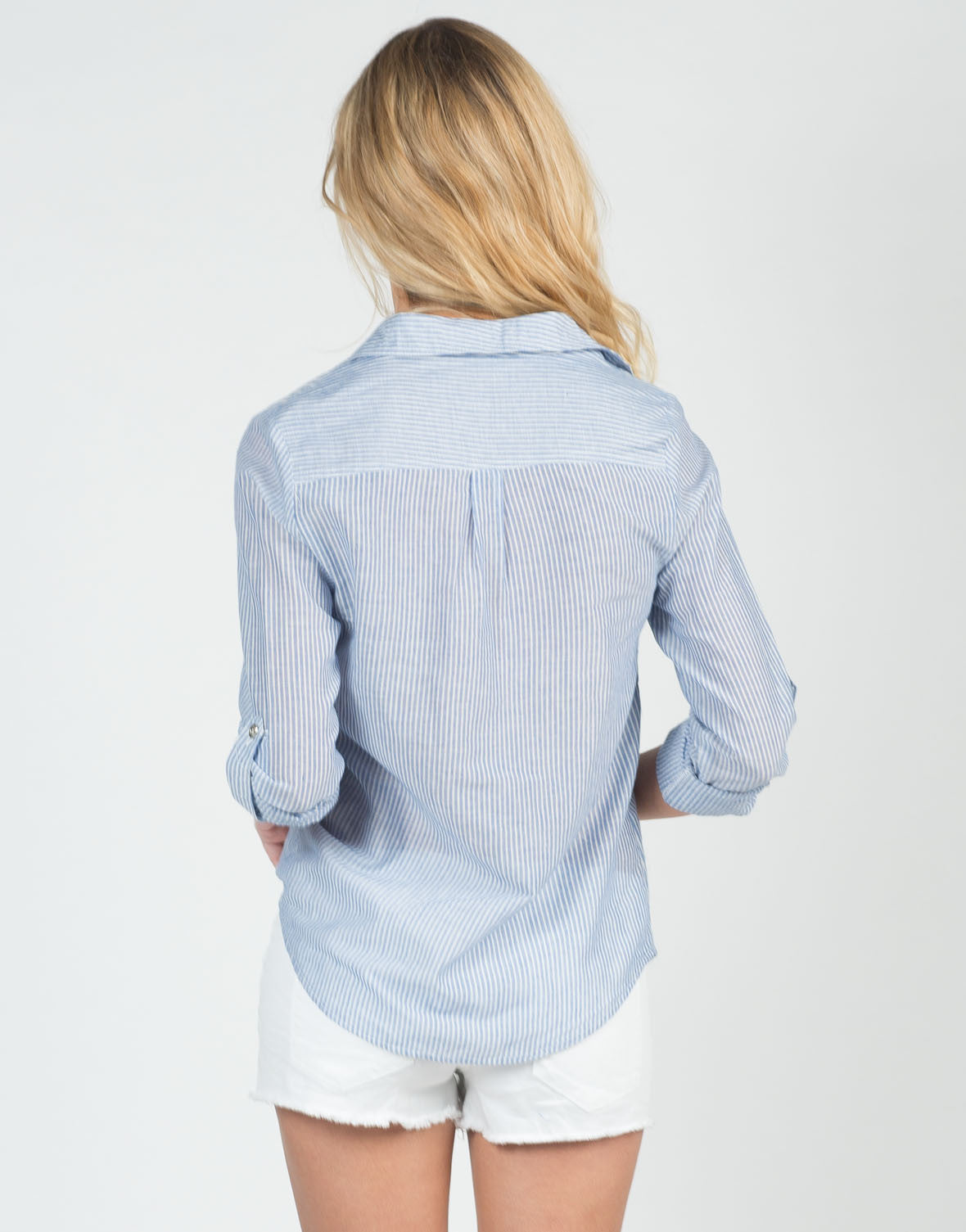 Back View of Pin Striped Button Up Blouse