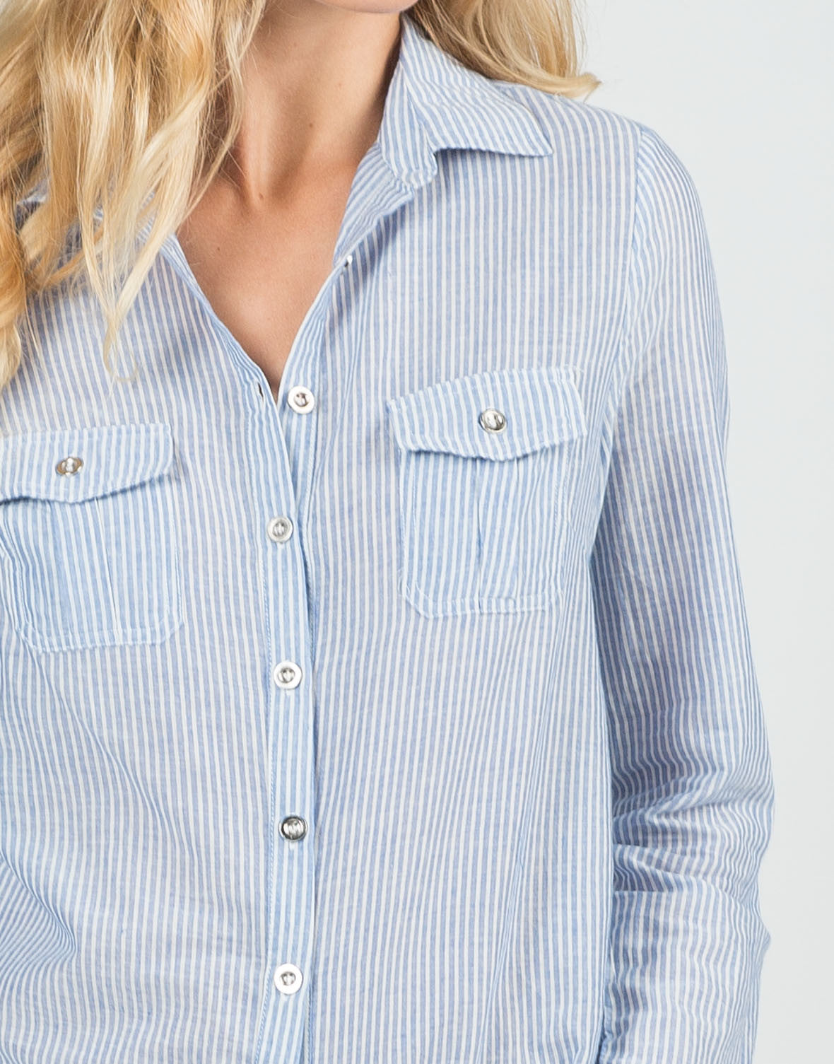 Detail of Pin Striped Button Up Blouse
