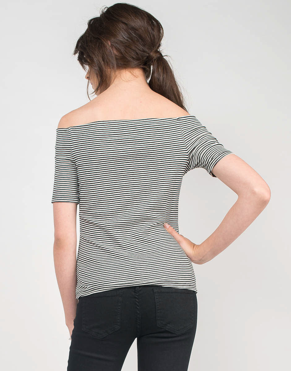 Back View of Pin Striped Off the Shoulder Top