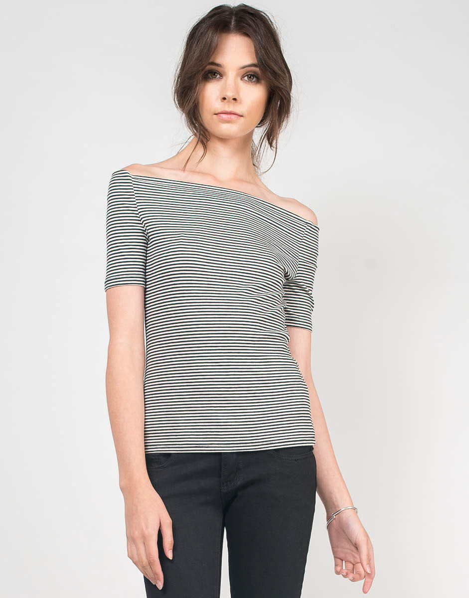 Front View of Pin Striped Off the Shoulder Top