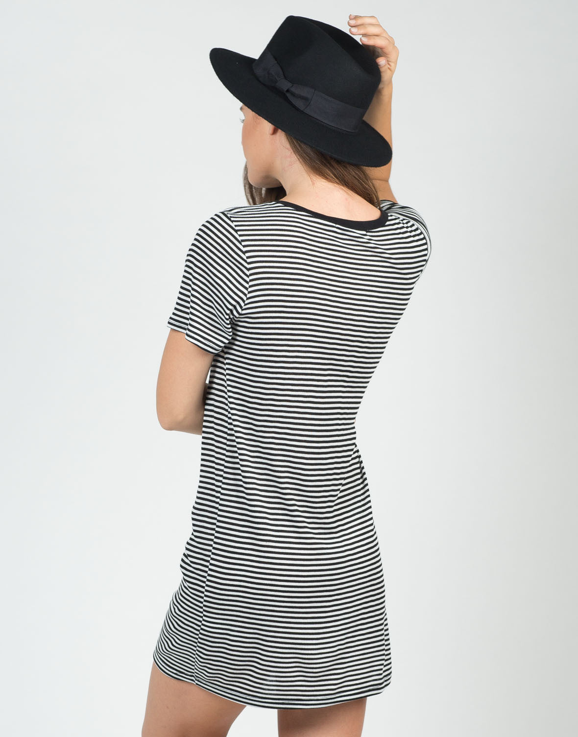 Back View of Pin Striped Shirt Dress