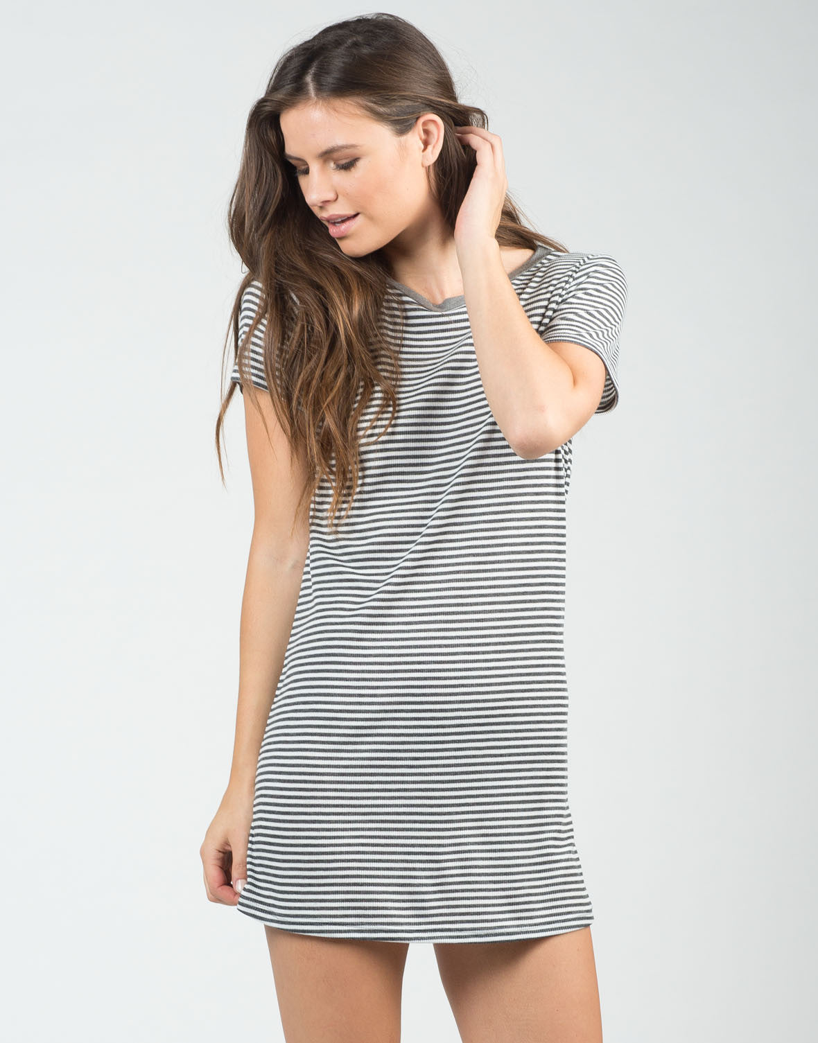 Front View of Pin Striped Shirt Dress