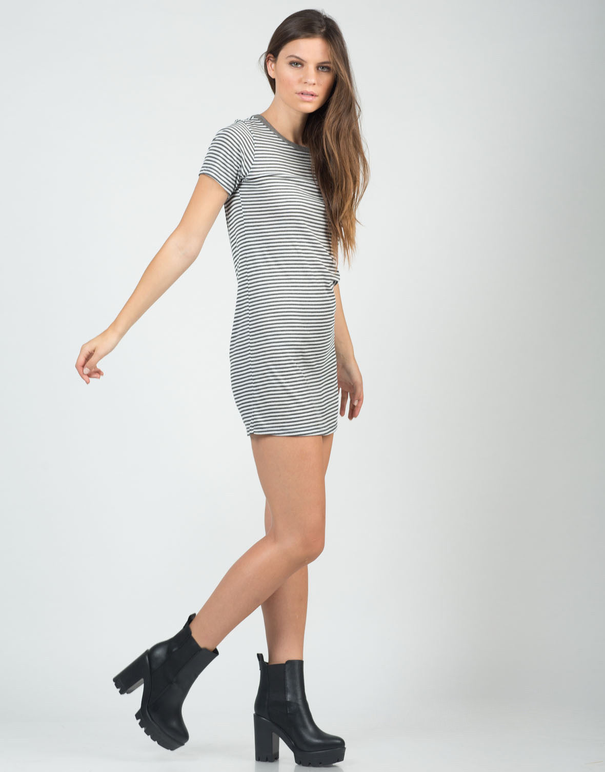 Side View of Pin Striped Shirt Dress