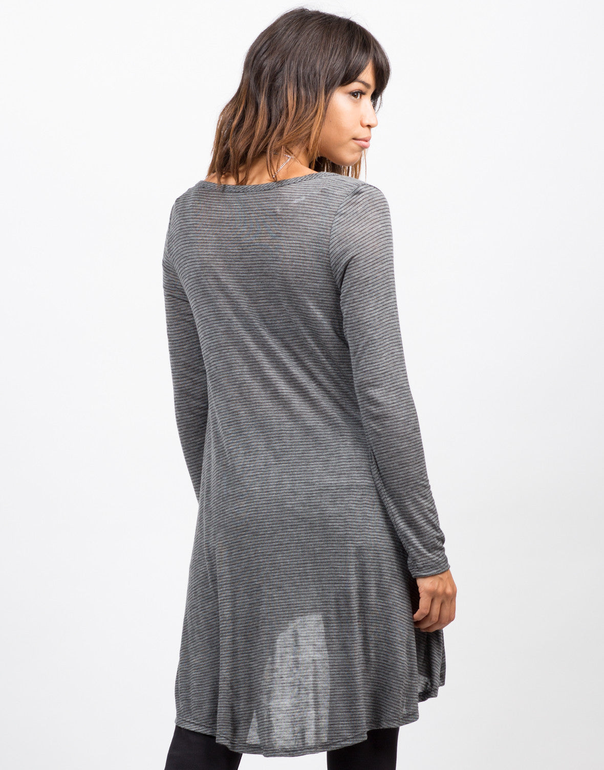 Back View of Pin Stripe Lightweight Cardigan