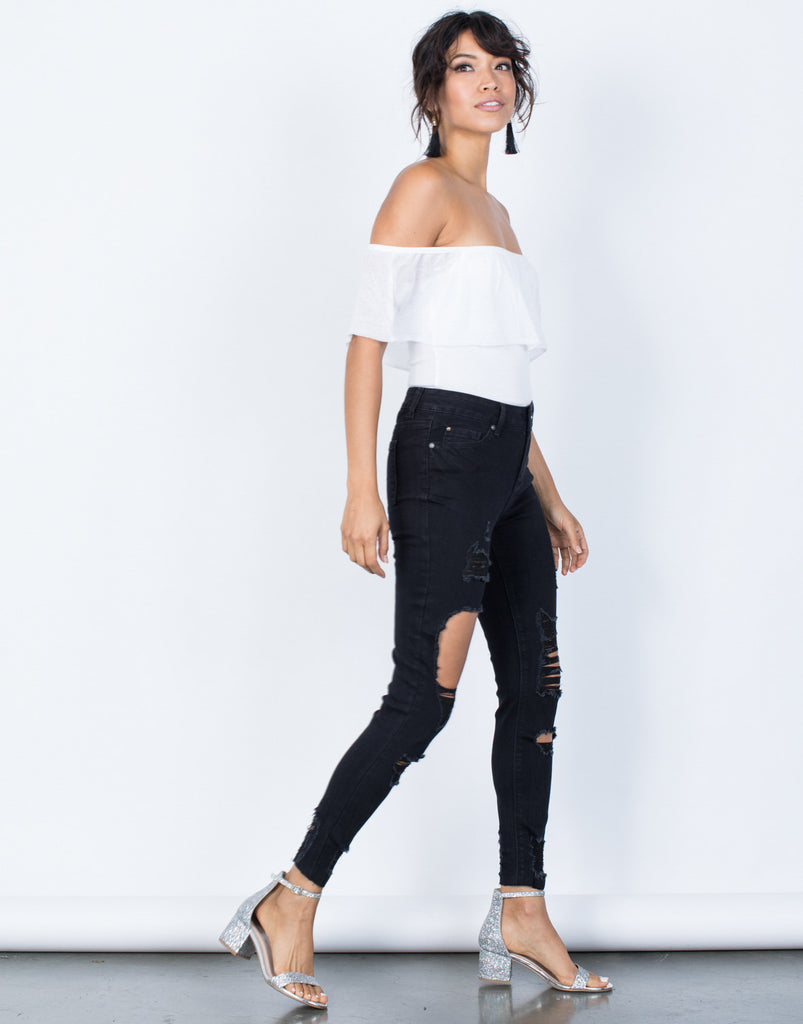 Black Denim Pitch Black Jeans - Side View
