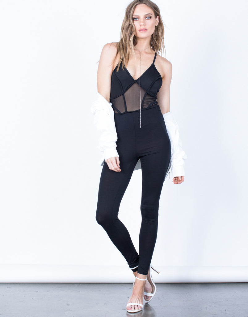 Front View of Pitch Black Mesh Jumpsuit