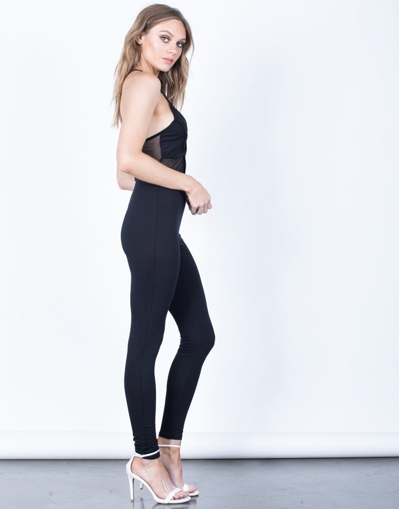 Side View of Pitch Black Mesh Jumpsuit