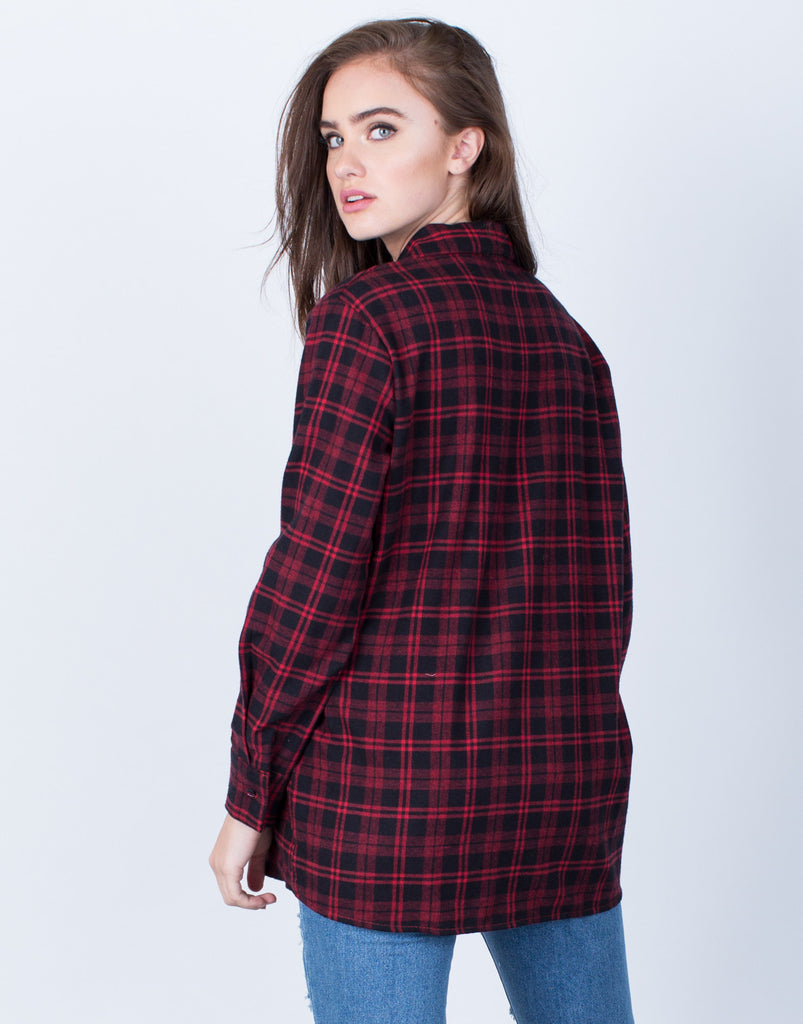 Back View of Plaid Button Up Blouse