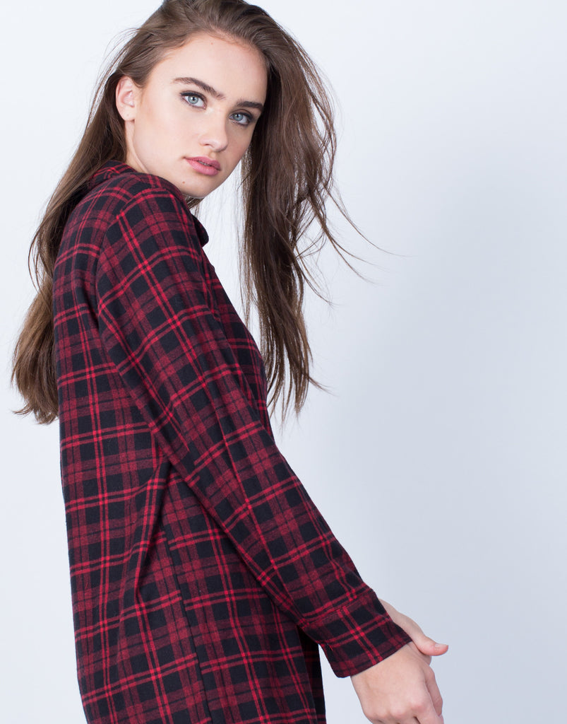 Detail of Plaid Button Up Blouse