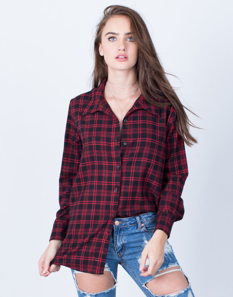 Front View of Plaid Button Up Blouse