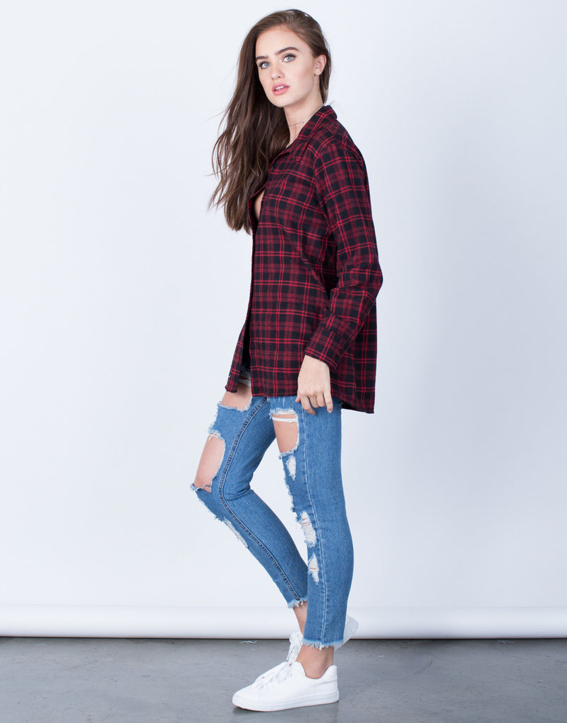 Side View of Plaid Button Up Blouse