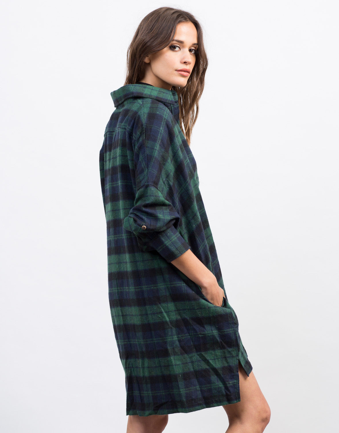 Back View of Plaid Flannel Shirt Dress
