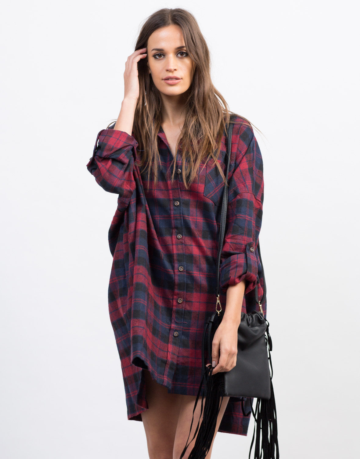Front View of Plaid Flannel Shirt Dress