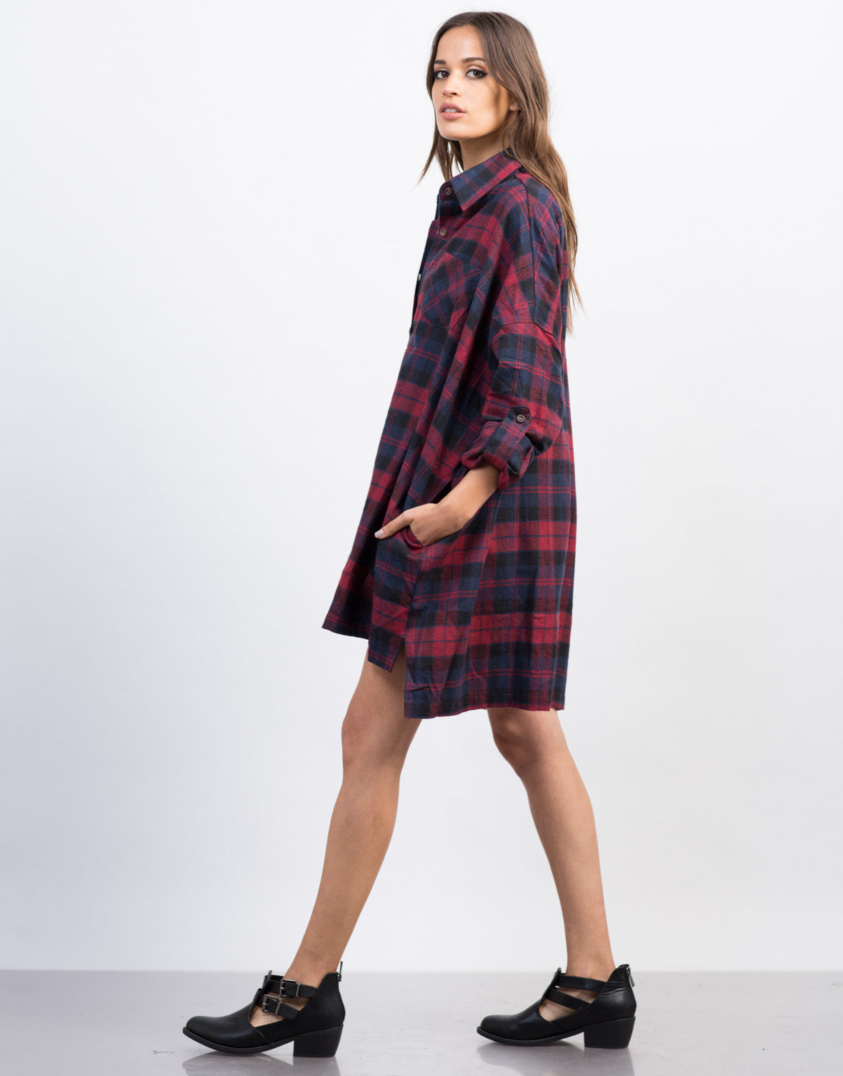 Side View of Plaid Flannel Shirt Dress