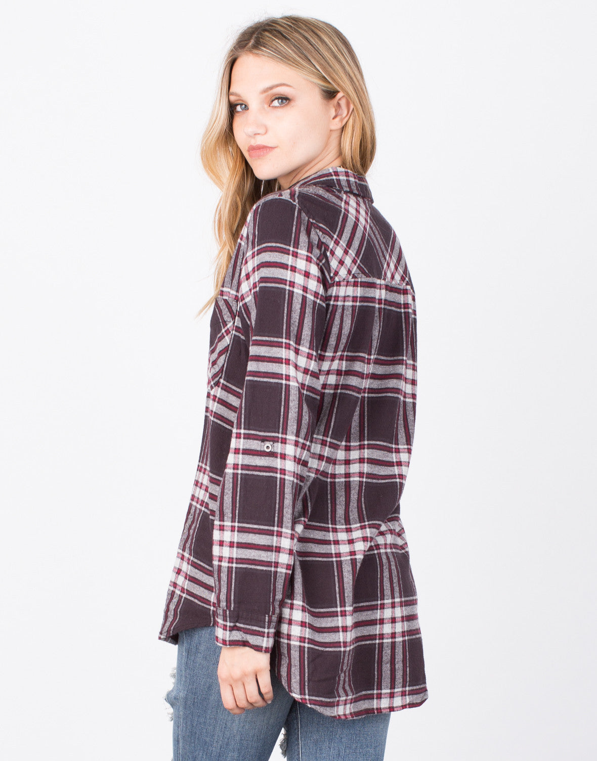 Back View of Plaid Flannel Top