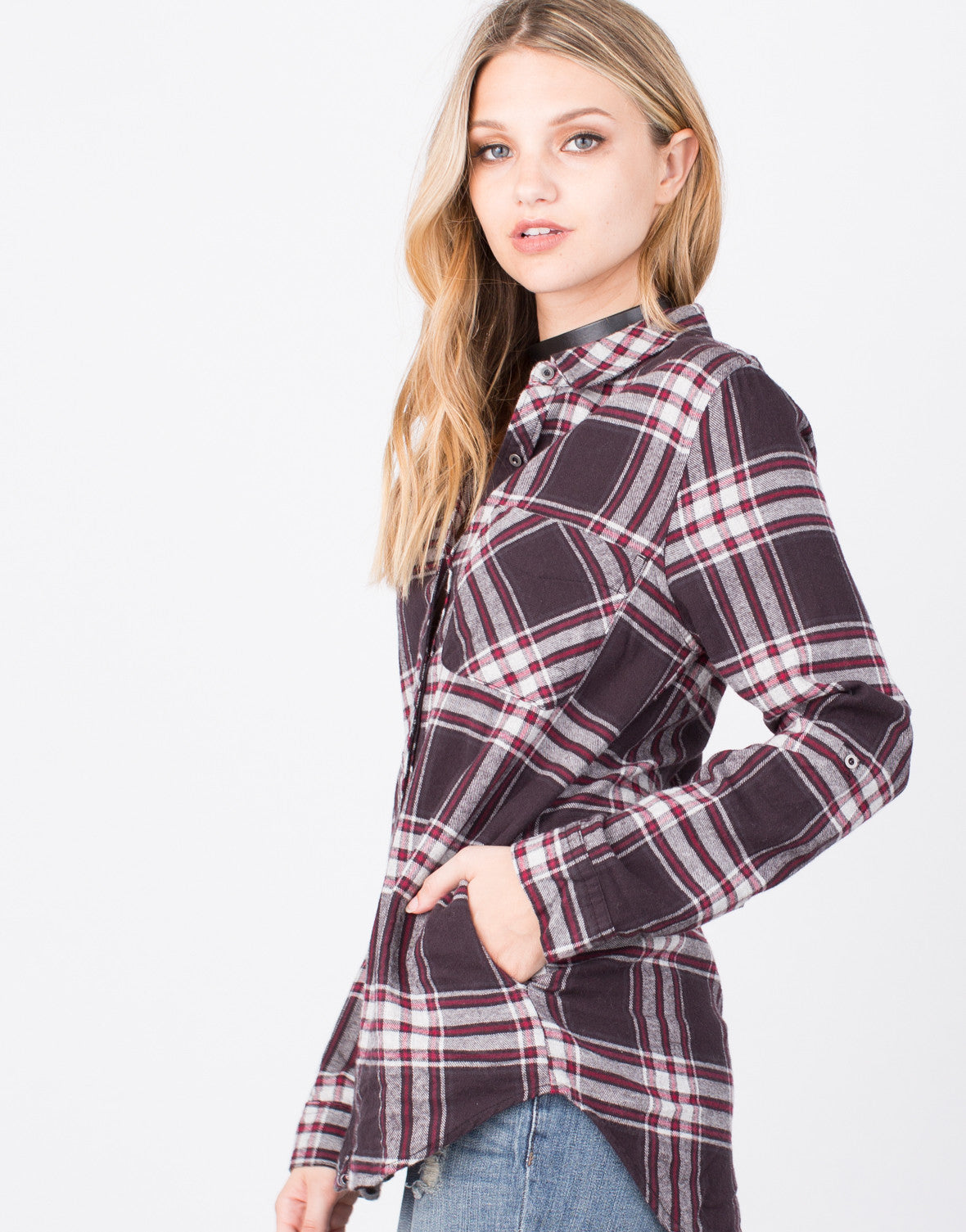 Detail of Plaid Flannel Top