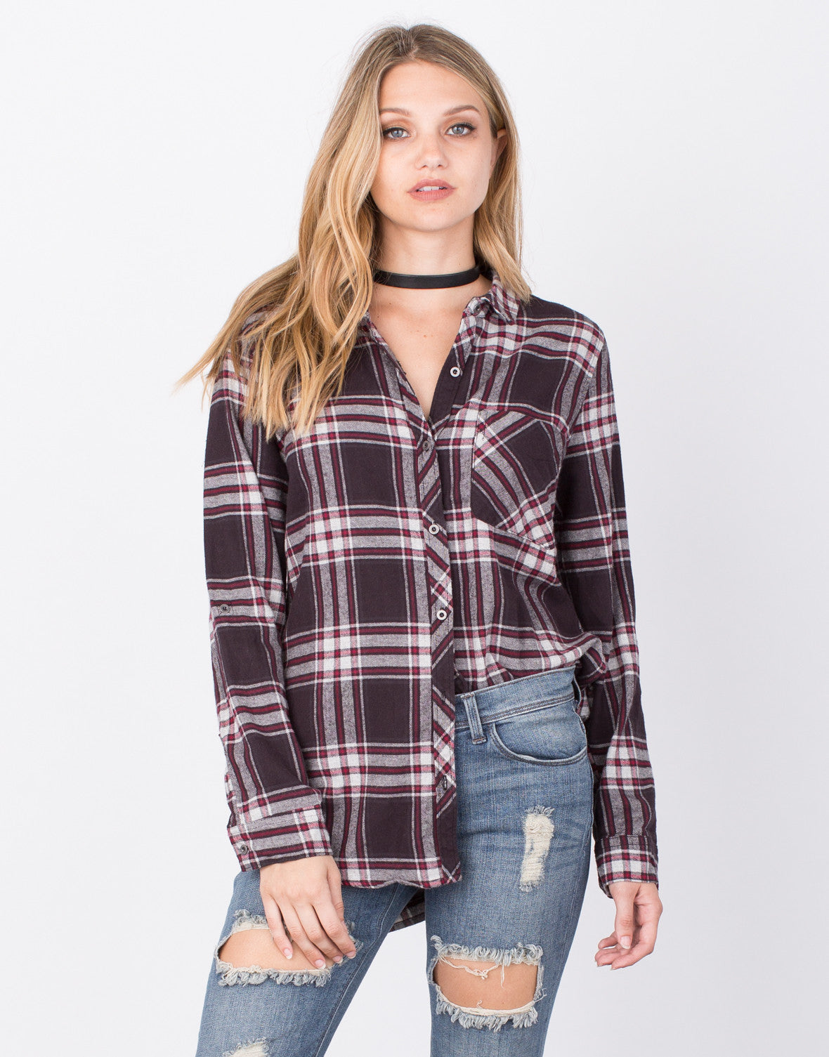 Front View of Plaid Flannel Top