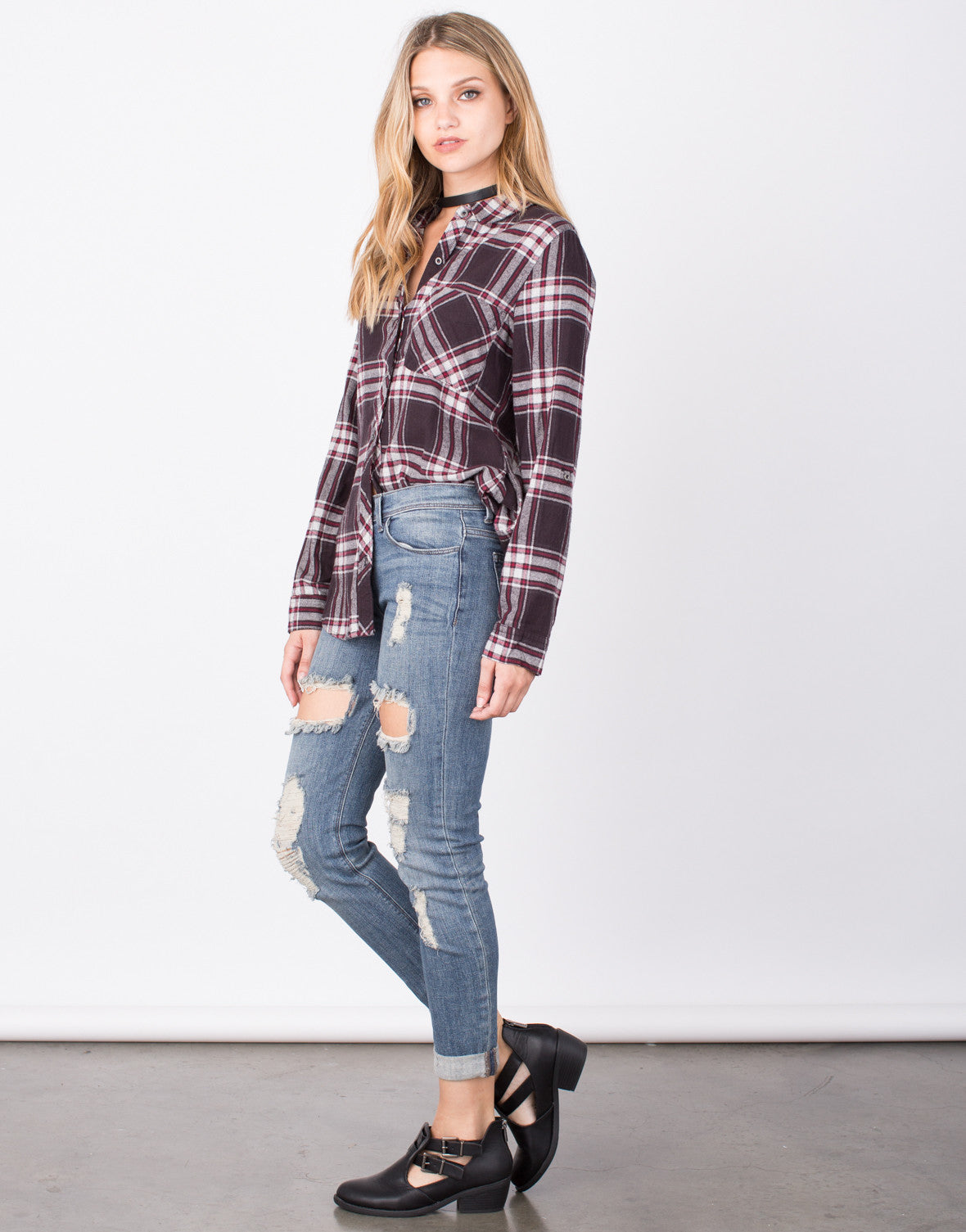 Side View of Plaid Flannel Top