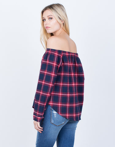 Plaid Off-the-Shoulder Blouse
