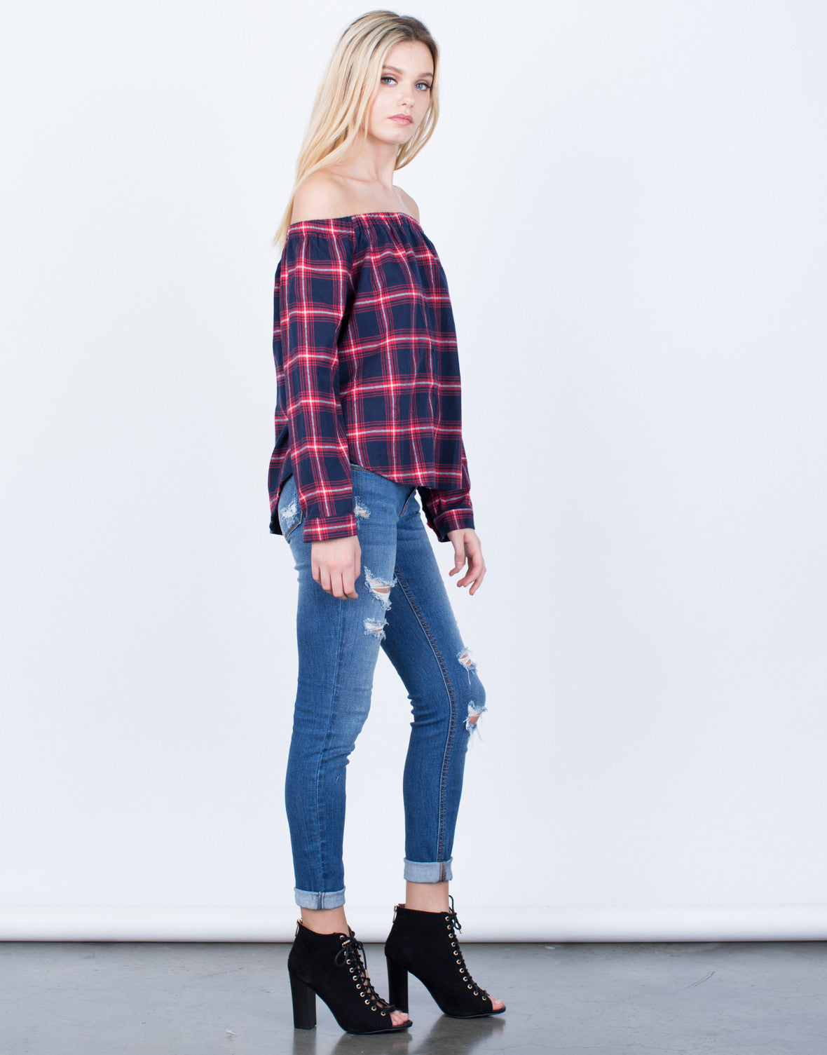 Plaid Off-the-Shoulder Blouse - 2020AVE