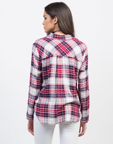 Back View of Plaid Pocket Blouse