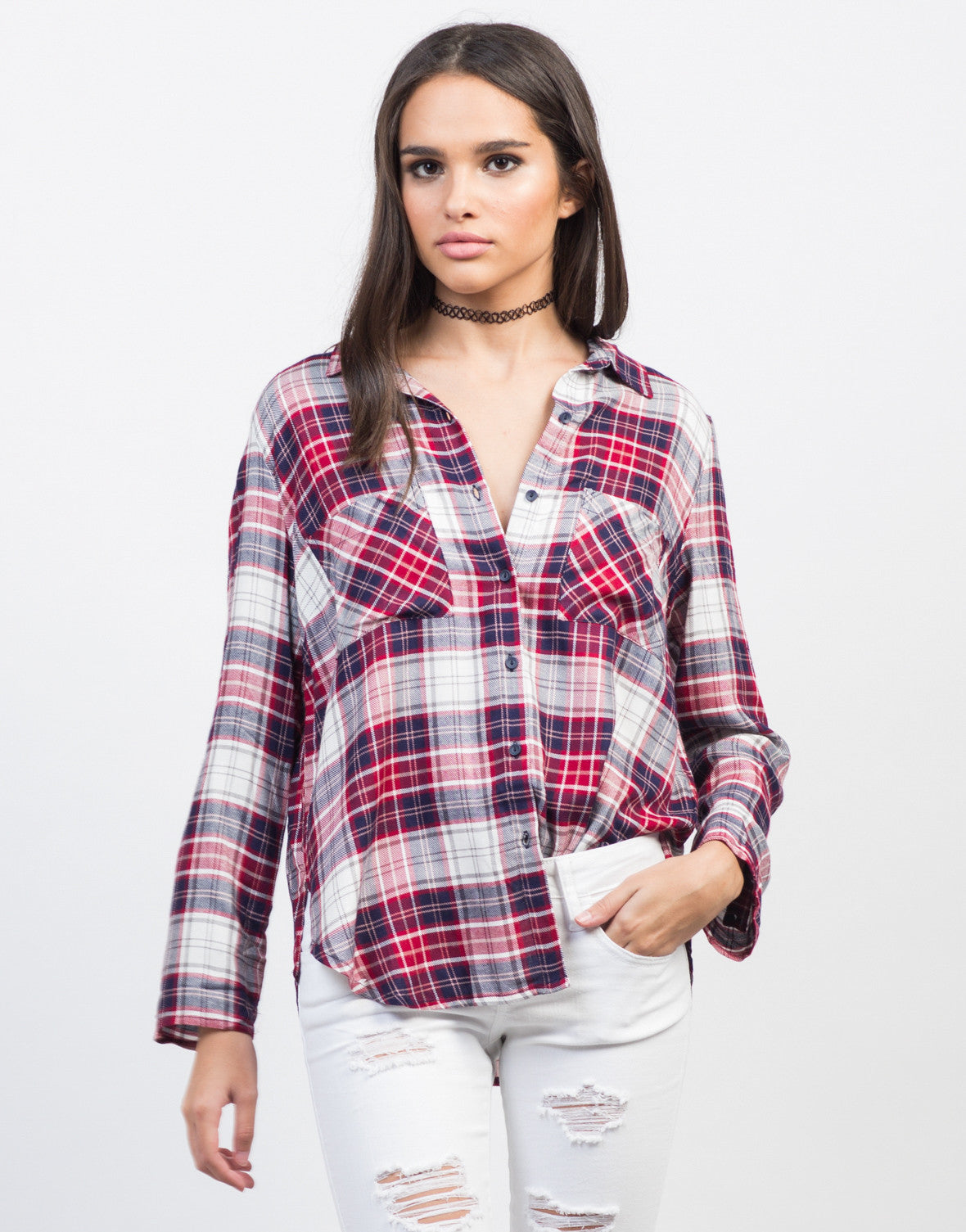 Front View of Plaid Pocket Blouse