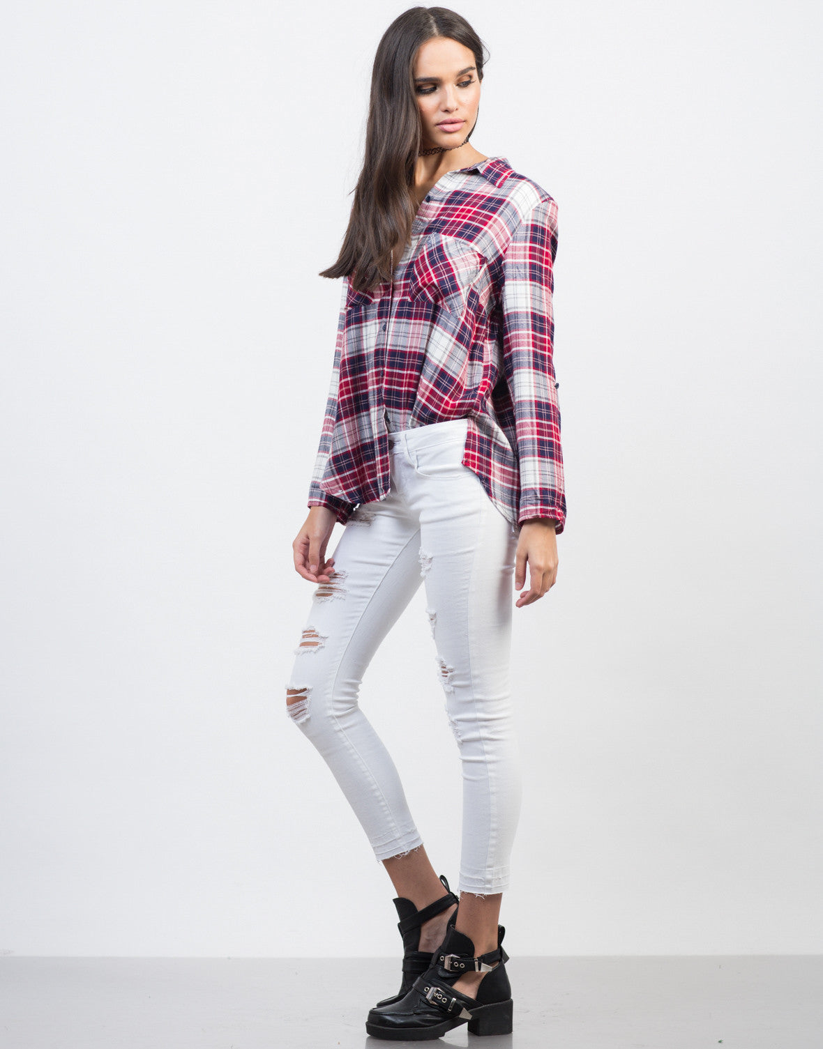 Side View of Plaid Pocket Blouse
