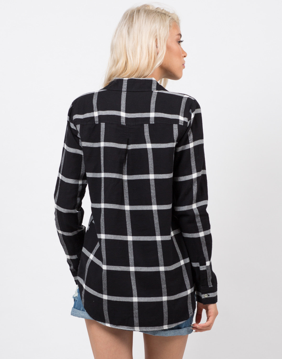 Back View of Plaid Flannel Shirt