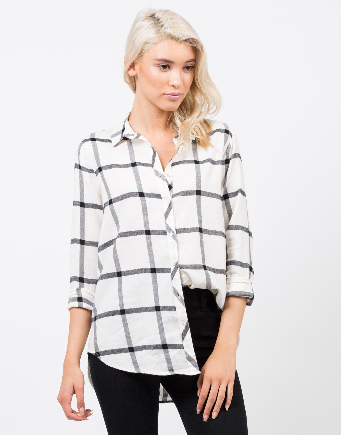 Front View of Plaid Flannel Shirt