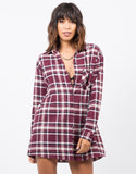 Front View of Plaid Flannel Tunic Dress