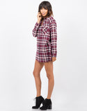 Side View of Plaid Flannel Tunic Dress