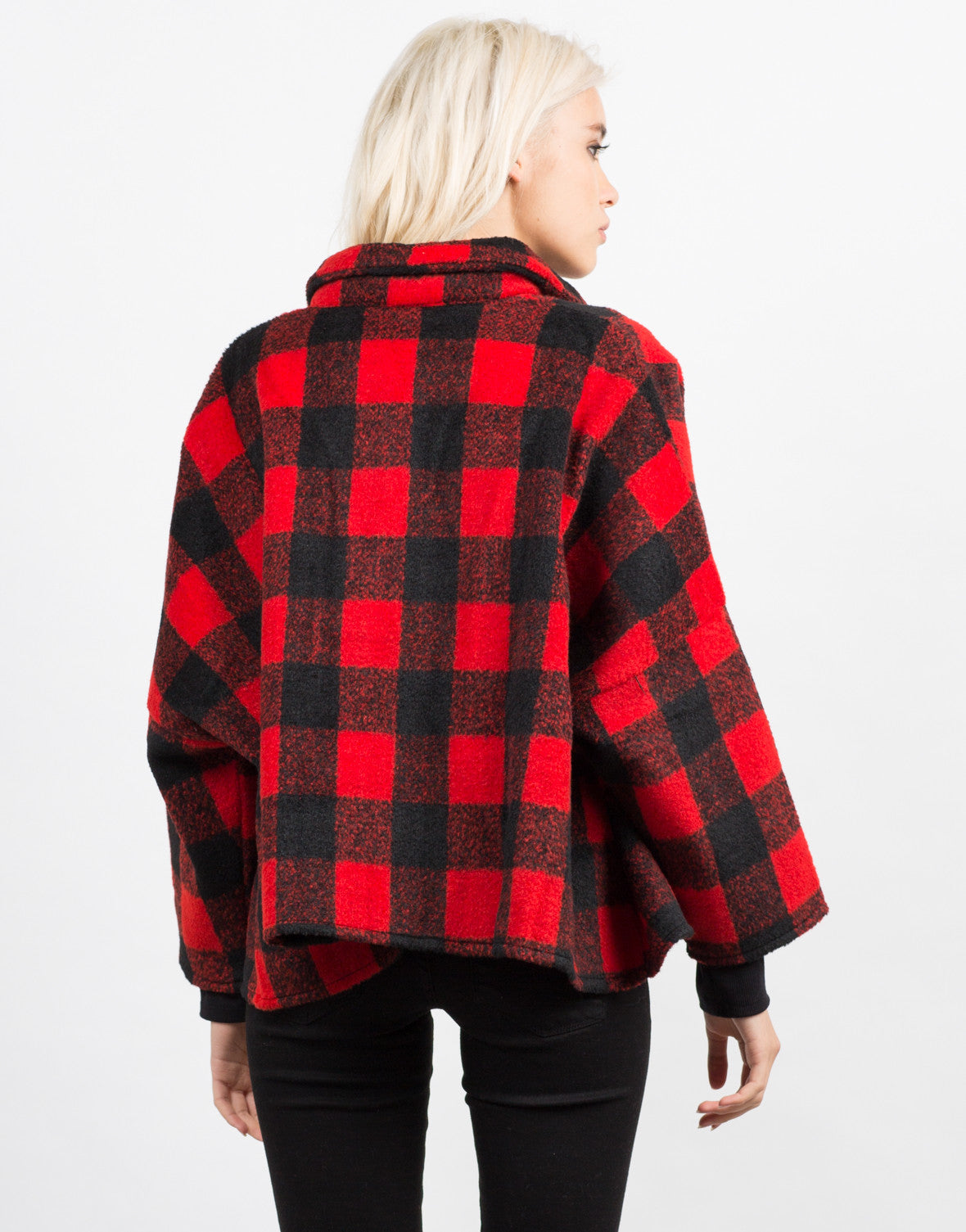 Back View of Plaid Oversized Button Up Coat