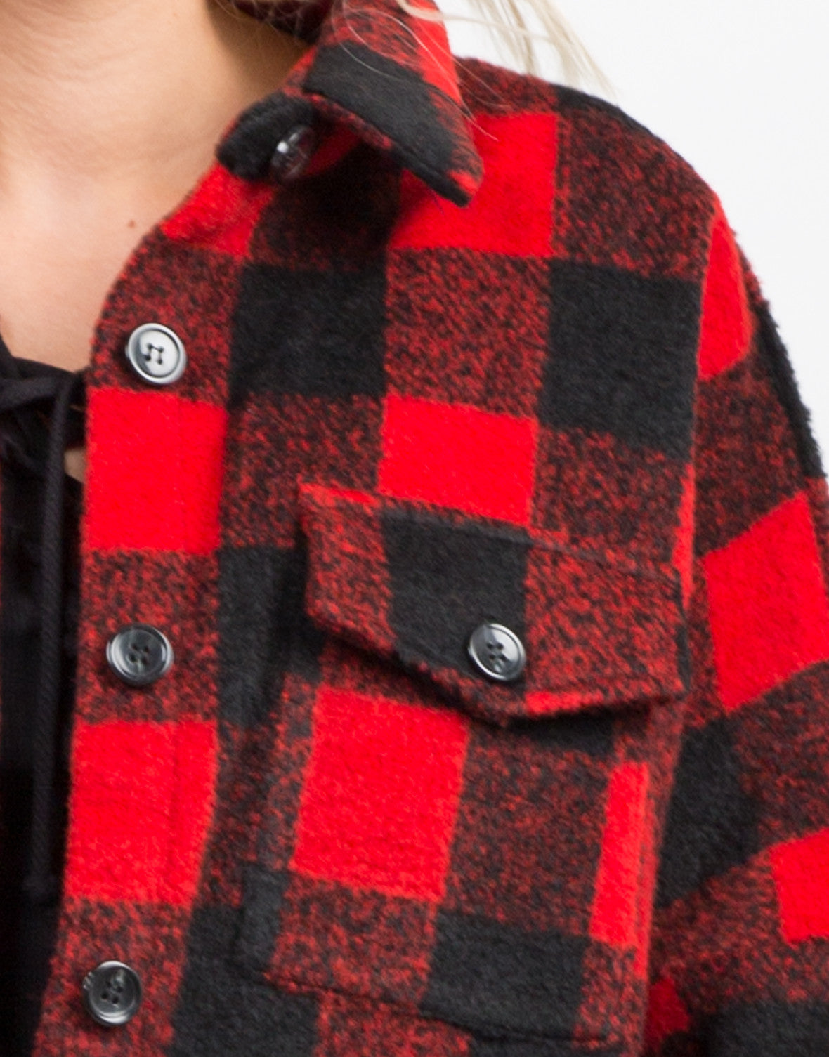 Detail of Plaid Oversized Button Up Coat