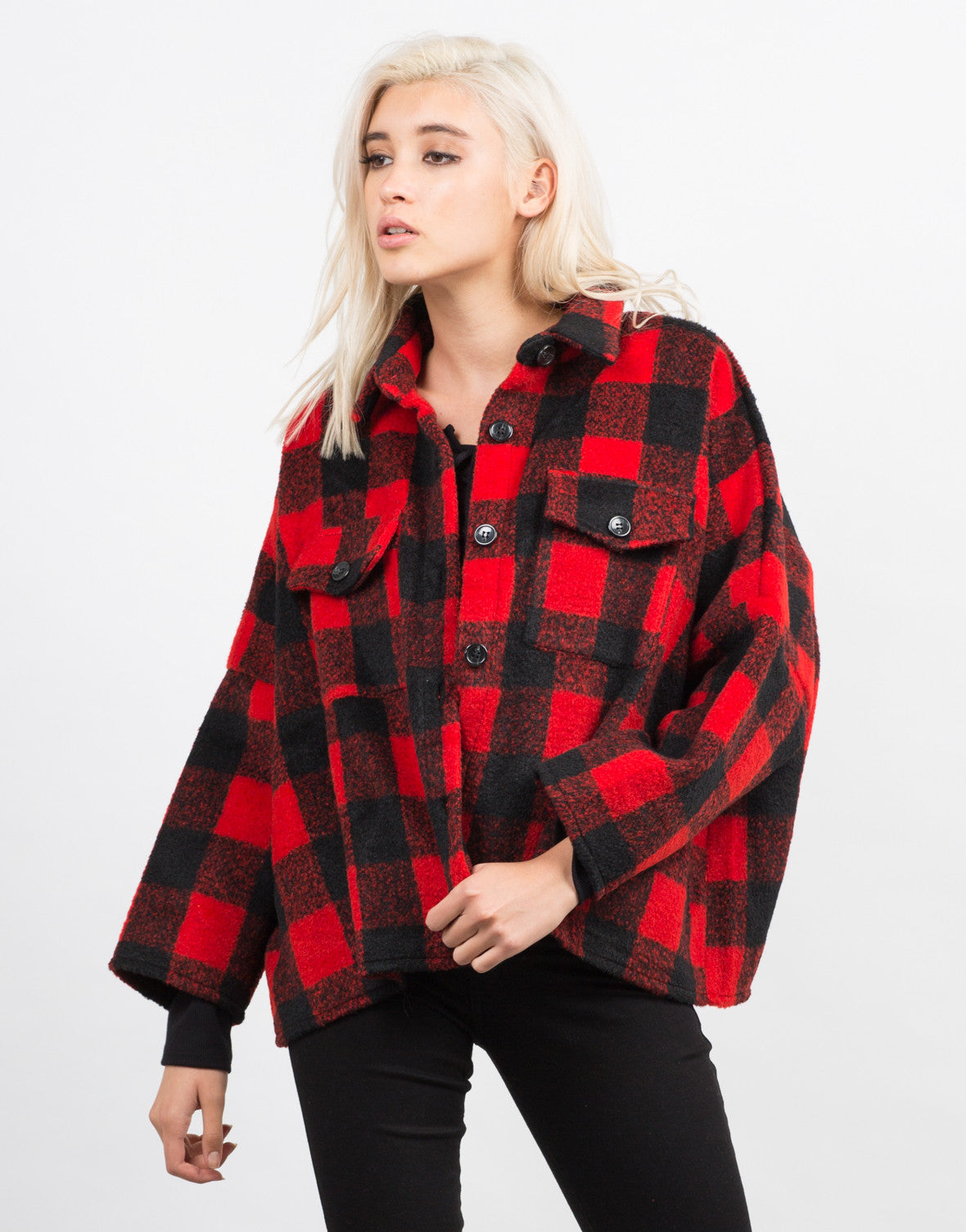 Front View of Plaid Oversized Button Up Coat