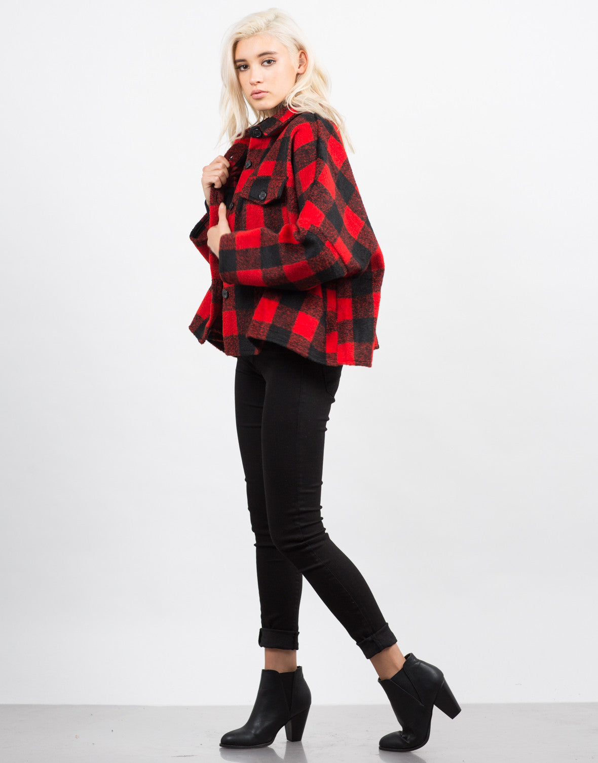 Side View of Plaid Oversized Button Up Coat