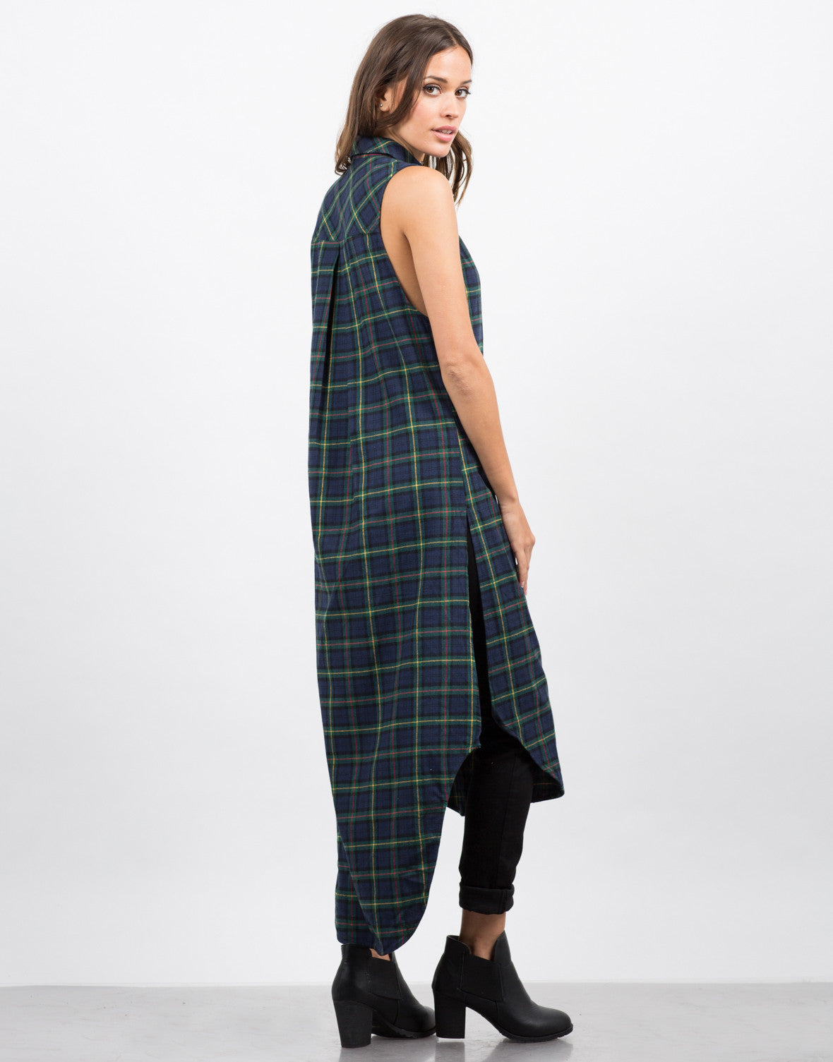 Back View of Plaid Shirt Dress